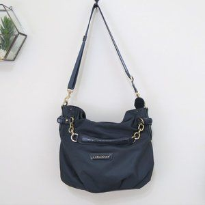 Lancaster Navy Blue Purse with Gold Chain